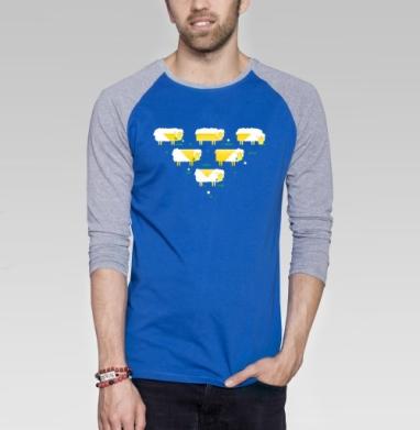 Треугольник - Футболка мужская с длинным рукавом синий / серый меланж, персонажи, Популярные