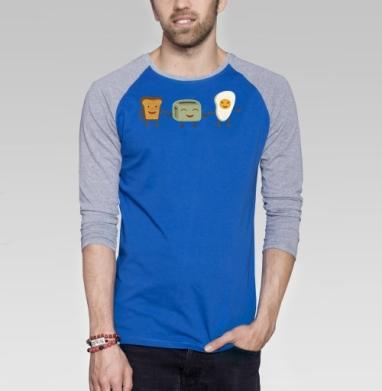 Breakfast friends - Футболка мужская с длинным рукавом синий / серый меланж, улыбка, Популярные