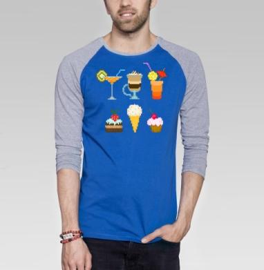 Десерт - Футболка мужская с длинным рукавом синий / серый меланж, мороженое, Популярные