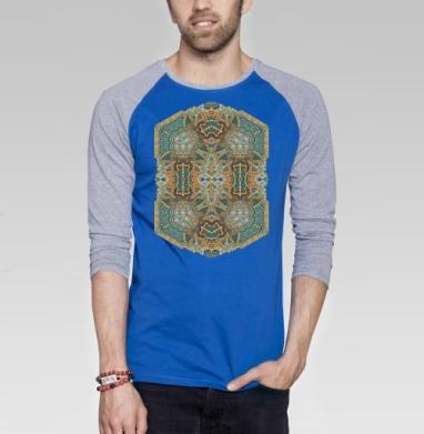 Ковёр сам улёт - Футболка мужская с длинным рукавом синий / серый меланж, этно, Популярные