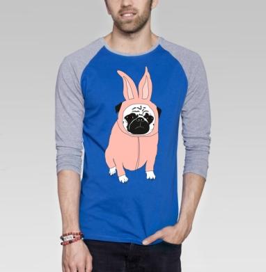 Мопс в костюме кролика - Футболка мужская с длинным рукавом синий / серый меланж, собаки, Популярные