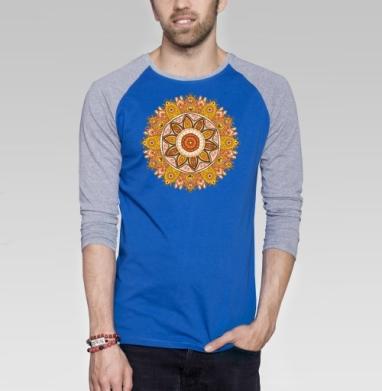Орнамент - Футболка мужская с длинным рукавом синий / серый меланж, этно, Популярные
