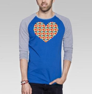Retro - Футболка мужская с длинным рукавом синий / серый меланж, геометрия, Популярные
