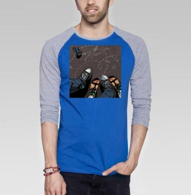Влюбленные - Футболка мужская с длинным рукавом синий / серый меланж, мода, Популярные