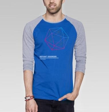 Defiant disorder - Футболка мужская с длинным рукавом синий / серый меланж, геометрия, Популярные