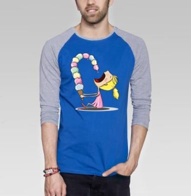 Девочка с мороженным  - Футболка мужская с длинным рукавом синий / серый меланж, мороженое, Популярные