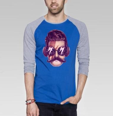 Dude - Футболка мужская с длинным рукавом синий / серый меланж, усы, Популярные