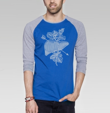 Liver&flowers - Футболка мужская с длинным рукавом синий / серый меланж, графика, Популярные