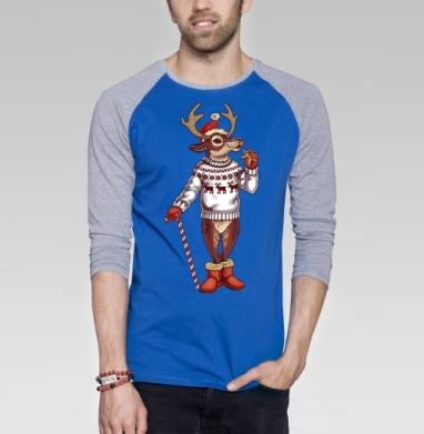 Олень санты - Футболка мужская с длинным рукавом синий / серый меланж, новый год, Популярные