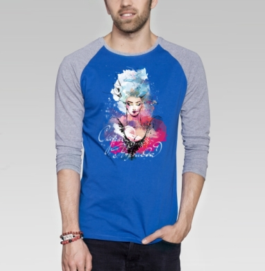 Снежная Королева - Футболка мужская с длинным рукавом синий / серый меланж, сказки, Популярные