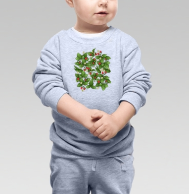 Cвитшот Детский серый меланж - Спелая клубничка