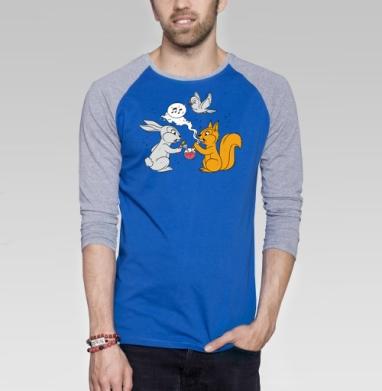 Funny friends - Футболка мужская с длинным рукавом синий / серый меланж, дым, Популярные