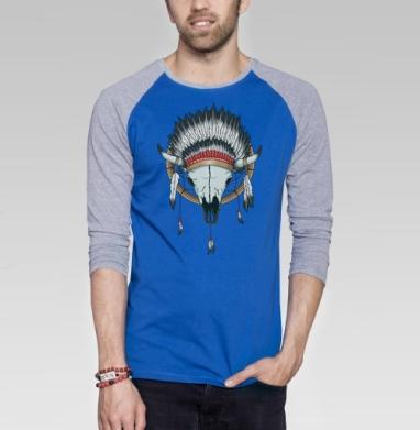 Ловец снов - Футболка мужская с длинным рукавом синий / серый меланж, индеец, Популярные