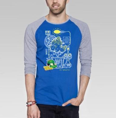 Crazy Grower - Футболка мужская с длинным рукавом синий / серый меланж, дым, Популярные
