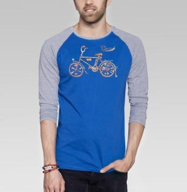 Десна I (ностальгический велосипед) - Футболка мужская с длинным рукавом синий / серый меланж, велосипед, Популярные