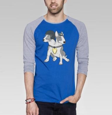 Eins, Zwei, Polizei - футболки fbi  - Футболка мужская с длинным рукавом синий / серый меланж, парные, Популярные