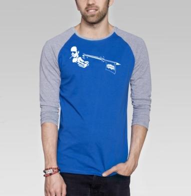 Gonzo - Футболка мужская с длинным рукавом синий / серый меланж, оружие, Популярные