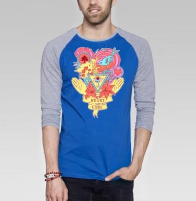 Heart core - Футболка мужская с длинным рукавом синий / серый меланж, нежность, Популярные