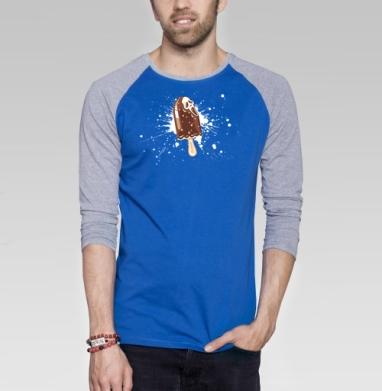 IScream - Футболка мужская с длинным рукавом синий / серый меланж, мороженое, Популярные