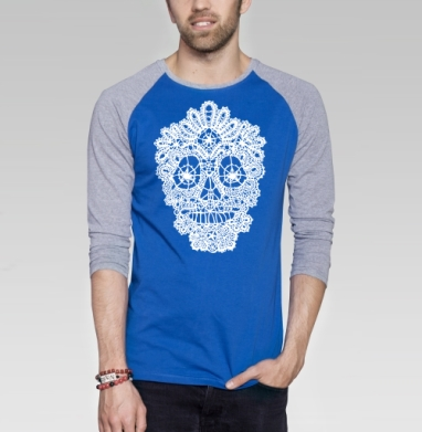 Кружавчики - Футболка мужская с длинным рукавом синий / серый меланж, череп, Популярные