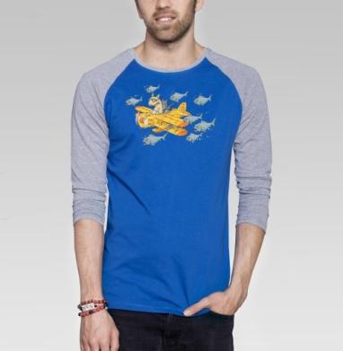 Мэт и Шитцу на охоте - Футболка мужская с длинным рукавом синий / серый меланж, военные, Популярные