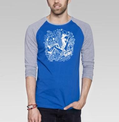 Music Mix - Футболка мужская с длинным рукавом синий / серый меланж, город, Популярные