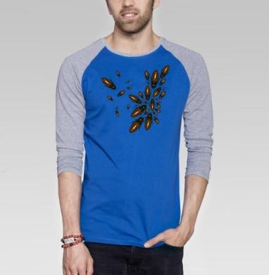 Обед нагишом - Футболка мужская с длинным рукавом синий / серый меланж, насекомые, Популярные