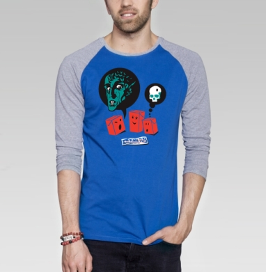 SOKI - Футболка мужская с длинным рукавом синий / серый меланж, жизнь, Популярные