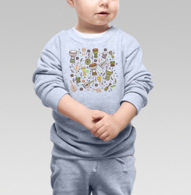 Cвитшот Детский серый меланж - Укулеле-мания