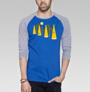 Вечерняя прогулка - Футболка мужская с длинным рукавом синий / серый меланж, космос, Популярные