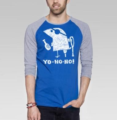 Йо-хо-хо - Футболка мужская с длинным рукавом синий / серый меланж, пират, Популярные