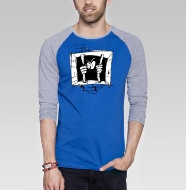 Soul - Футболка мужская с длинным рукавом синий / серый меланж, свобода, Популярные