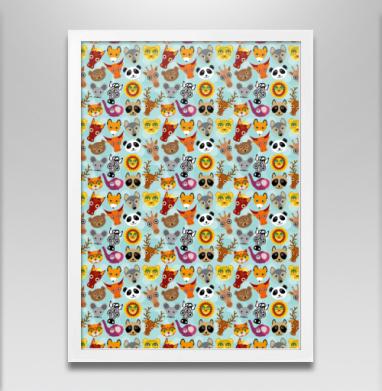 Животные панда олень жираф зебра слон лев кот волк лошадь енот лиса - Постер в белой раме, волк