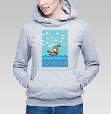 Лисичка на лодке рыбку сачком ловит - Купить детские толстовки с рыбой в Москве, цена детских толстовок с рыбой  с прикольными принтами - магазин дизайнерской одежды MaryJane
