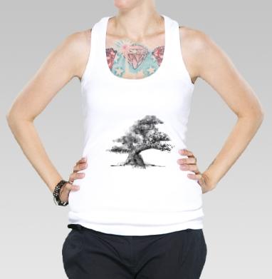 Борцовка женская белая рибана 200гр - Дерево и полная луна