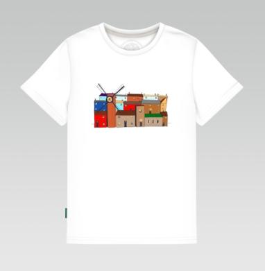 Детская футболка белая - Цветные домики