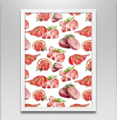Мясо - Постер в белой раме, сладости