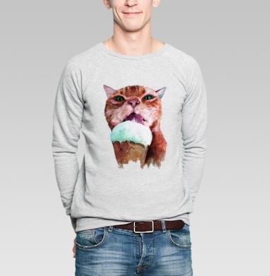 Кот который любит мороженое  - Купить мужские свитшоты с кошками в Москве, цена мужских  с кошками  с прикольными принтами - магазин дизайнерской одежды MaryJane