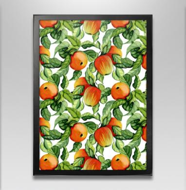 Яблоки - Постер в чёрной раме, фрукты