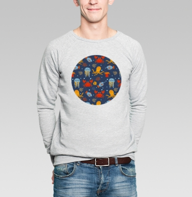 Подводные зверушки - Купить мужские свитшоты с рыбой в Москве, цена мужских свитшотов с рыбой  с прикольными принтами - магазин дизайнерской одежды MaryJane