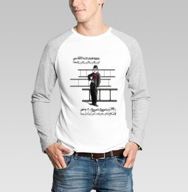 Футболка мужская с длинным рукавом бело-серая - Кино и ноты