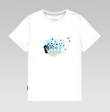 Детская футболка белая 160гр - Девушка и птицы
