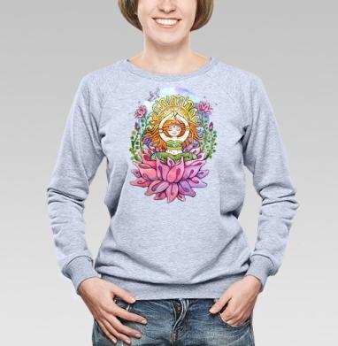 Йога дюймовочка на цветке - Купить детские свитшоты спортивные в Москве, цена детских свитшотов спортивных  с прикольными принтами - магазин дизайнерской одежды MaryJane