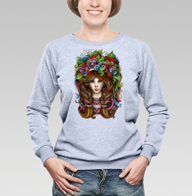 Я украинка - Cвитшот женский, толстовка без капюшона  серый меланж, olkabalabolka, Новинки