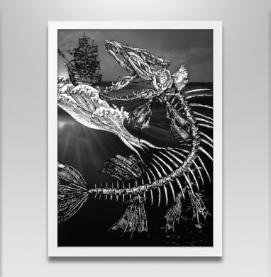Голодная рыбка - Постер в белой раме, рыба