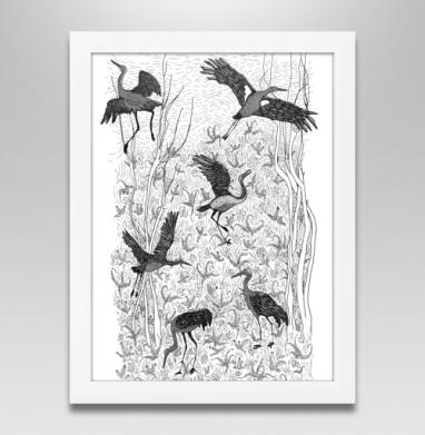 Черные журавли, Постер в белой раме