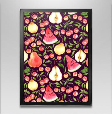 Фруктовый паттерн - Постер в чёрной раме, фрукты