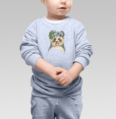 Cвитшот Детский серый меланж - Панда в венке