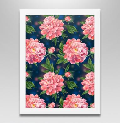 Розовые пионы на темно-синем фоне - Продажа картин в интернете