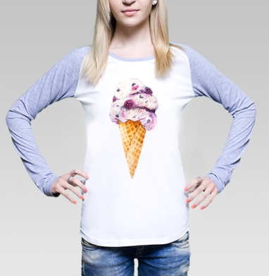Мороженка, Футболка лонгслив женская бело-серая